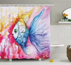 Balık Desenli Duş Perdesi Sulu Boya Pembe Mavi Şık