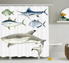 Balık Desenli Duş Perdesi Beyaz Şık Tasarım Trend