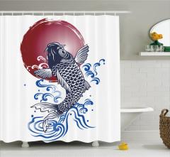 Japon Balığı Desenli Duş Perdesi Lacivert Bordo Şık