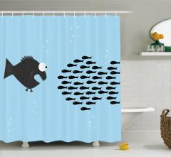Balık Desenli Duş Perdesi Mavi Siyah Şık Tasarım