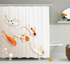 Kutsal Balık Desenli Duş Perdesi Turuncu Krem Şık