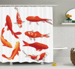Kırmızı Balık Desenli Duş Perdesi Şık Turuncu Beyaz