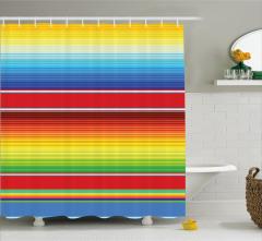 Rengarenk Çizgili Desenli Duş Perdesi Şık Modern