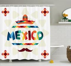 Güneş ve Meksikalı Desenli Duş Perdesi Kilim Etkili