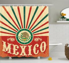 Meksika Bayrağı Desenli Duş Perdesi Kırmızı Yeşil