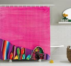 Sulu Boya Pembe Desenli Duş Perdesi Meksika Esintili