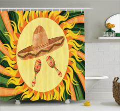 Güneş ve Şapka Desenli Duş Perdesi Sarı ve Yeşil