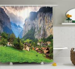 Yeşil Köy Dağ ve Güneş Temalı Duş Perdesi Dekoratif