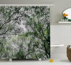 Ağaç ve Gökyüzü Manzaralı Duş Perdesi Yeşil Beyaz