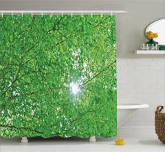 Yeşil Ağaç ve Güneş Temalı Duş Perdesi Şık Dekoratif