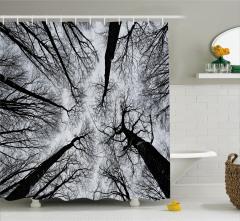 Siyah Beyaz Ağaç Manzaralı Duş Perdesi Şık Tasarım