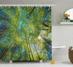 Orman ve Gökyüzü Temalı Duş Perdesi Yeşil ve Sarı
