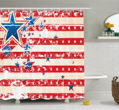 Kırmızı Beyaz Desenli Duş Perdesi ABD Bayrağı Etkili
