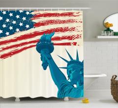 Özgürlük Heykeli Desenli Duş Perdesi ABD Bayraklı