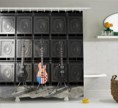 Hoparlör ve Gitar Desenli Duş Perdesi ABD Bayrağı