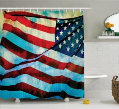 Dalgalanan ABD Bayrağı Desenli Duş Perdesi Dekoratif