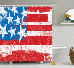 ABD Bayrağı Desenli Duş Perdesi Şık Kırmızı Mavi