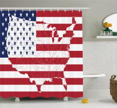 ABD Bayrağı ve Harita Desenli Duş Perdesi Dekoratif