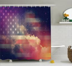 Gökyüzü ve ABD Bayrağı Desenli Duş Perdesi Şık Trend