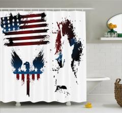 ABD Bayrağı Kartal ve Heykel Desenli Duş Perdesi Şık