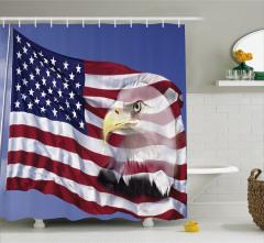 Kartal ve ABD Bayrağı Desenli Duş Perdesi Bordo Mavi