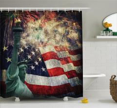 Heykel Bayrak Havai Fişek Temalı Duş Perdesi ABD