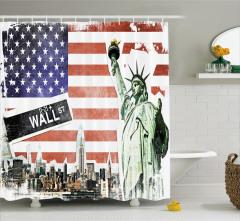 ABD Bayrağı ve New York Temalı Duş Perdesi Kırmızı