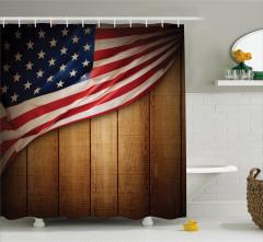 Kahverengi Ahşap Temalı Duş Perdesi ABD Bayraklı