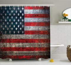 ABD Bayrağı Temalı Duş Perdesi Şık Metal Efektli