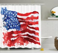 Sulu Boya ABD Bayrağı Desenli Duş Perdesi Kırmızı