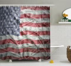 Dolar ve ABD Bayrağı Desenli Duş Perdesi Dekoratif