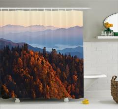 Sonbahar Temalı Duş Perdesi Dağ Manzaralı Bulutlar