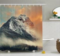 Karlı Dağ Manzaralı Duş Perdesi Gün Batımı Beyaz