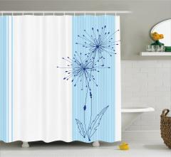 Mavi Beyaz Duş Perdesi Çiçekli Şık Tasarım Trend