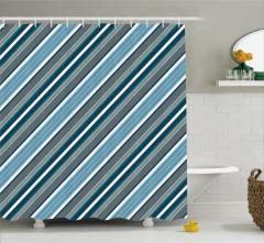 Duş Perdesi Mavi Beyaz Gri Çizgili Şık Tasarım