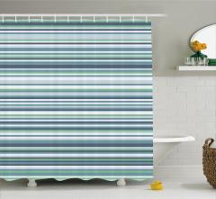 Duş Perdesi Yeşil Mavi Beyaz Çizgili Şık Tasarım