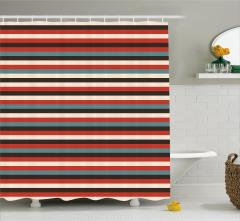 Geometrik Desenli Duş Perdesi Kırmızı Çizgili Şık