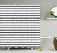 Gri Beyaz Çizgili Duş Perdesi Şık Tasarım Trend