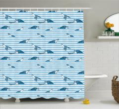 Su Kaplumbağası Temalı Duş Perdesi Mavi Beyaz Şerit