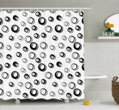 Daire Desenli Duş Perdesi Siyah Beyaz Şık Tasarım