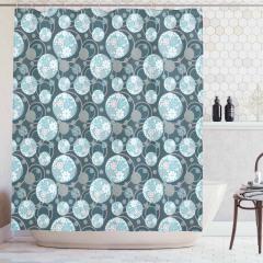 Çiçekli Daire Desenli Duş Perdesi Çeyizlik Mavi Şık