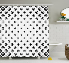 Minik Daire Desenli Duş Perdesi Siyah Beyaz Çeyizlik