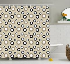 Daire Desenli Duş Perdesi Bej Siyah Şık Tasarım