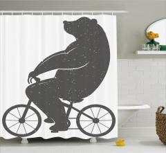 Bisiklete Binen Ayı Desenli Duş Perdesi Siyah Beyaz
