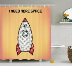 Retro Roket Posteri Temalı Duş Perdesi Turuncu Şık