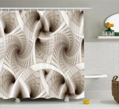 Sarmal Desenli Duş Perdesi Fraktal Bej Beyaz Şık