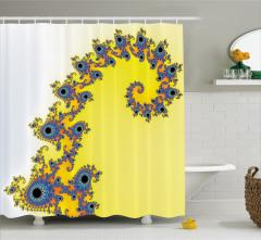 Denizatı Desenli Duş Perdesi Sarı Mavi Şık Tasarım
