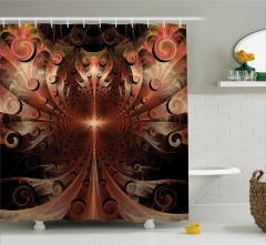 Fraktal Desenli Duş Perdesi Kahverengi Parlak Şık