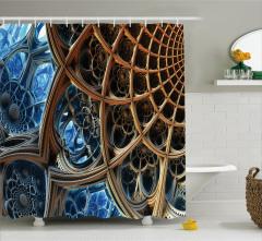 Fraktal Tasarımlı Duş Perdesi Kahverengi Mavi 3D