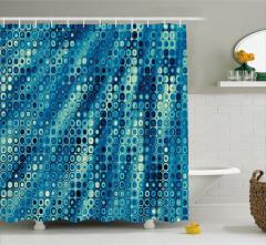Nokta Desenli Duş Perdesi Mavi Fraktal Şık Tasarım